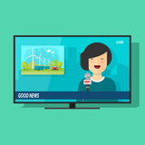 Good TV news vector illustration, flat cartoon television studio Stock Photo