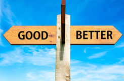 Good versus Better messages, Lifestyle change conceptual image Royalty Free Stock Photos