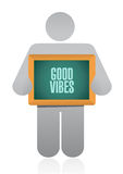 Good vibes avatar board sign concept Stock Photo