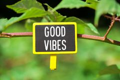 Good vibes on board. Good vibes written on yellow small chalkboard linked tree with clothespin on nature green background Royalty Free Stock Photography