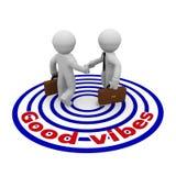 Good vibes, businessmen hand shake vector illustration