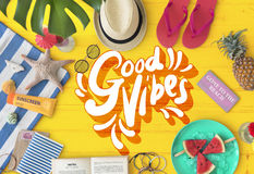 Good Vibes Positive Motivation Inspiration Concept. Good Vibes Positive Motivation Inspiration Beach Fun Stock Image