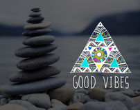 Good Vibes Positive Thinking Optimistic Concept. Good Vibes Positive Thinking Optimistic Stock Photography