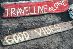 Good vibes text on a wooden board. Bali island Stock Photo