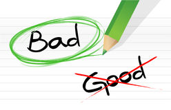 Good vs bad. Illustration design graphic over a notepad paper Royalty Free Stock Image