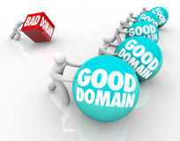 Good Vs Bad Domain Names URL Website Internet Business. Good Domains vs Bad words on spheres in a race or competition with best internet website names that are Royalty Free Stock Photography