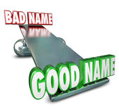 Good Vs Bad Name Weighing Options Best Brand Identity New Relaun Stock Image