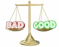 Good Vs Bad Scale Weighing Positive Negative Choices 3d Illustra. Tion Stock Photography