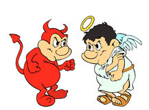 Good Vs Evil. Hand drawn cartoon of an angel and devil fighting Royalty Free Stock Photography