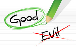 Good vs evil. Illustration design graphic over a notepad paper Royalty Free Stock Image