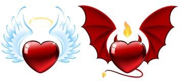 Good vs evil hearts stock illustration