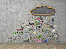 Good weather for businesses. Cloud in the form of a school board on a concrete wall with business figures. Business concept royalty free stock photo