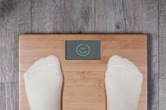 Good weight - display shows smiley. stock photo