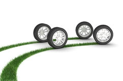 Good wheels. Grassy trace from wheels. 3d illustration Stock Images