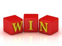 Good win the jackpot in the red cubes Royalty Free Stock Photos