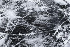 Ice with snow and scratches texture background stock photo