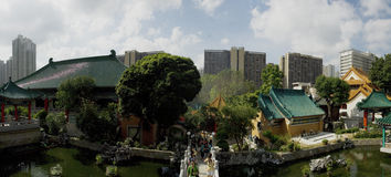 Good Wish Garden Sik Sik Yuen Wong Tai Sin Temple Religion Great Immortal Wong Prayer Kau CIm Insence. Wong Tai Sin Temple is a well known shrine and major stock image