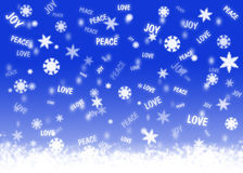 Good wishes snowfall. Blue background with snowflakes and christmas wishes words Royalty Free Stock Photography