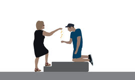A good woman delivers a disabled beggar for food. Vector Illustr Royalty Free Stock Photography