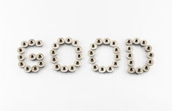 GOOD Word Created by Stainless Steel Hex Flange Nuts Royalty Free Stock Photo