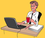 Good work. Satisfied employee, sitting in the workplace stock illustration