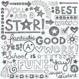 Good Work Praise Phrases Sketchy Doodle Encouragem. Good Work Super Student Praise Phrases Back to School Doodles Stock Image