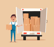 Good worker. Cartoon vector illustration. Relocation. Moving service Royalty Free Stock Image