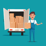 Good worker. Cartoon vector illustration. Relocation. Moving service Stock Image