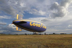 Good Year Blimp in Abbotsford, Canada. The Good Year Blimp stopped over in Abbotsford, BC, Canada on July 8, 2016 before continuing to Washington and Oregon on Royalty Free Stock Photo