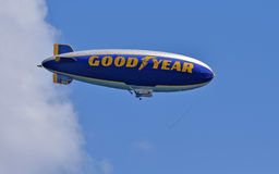Good Year blimp. Fort Lauderdale, USA - October 11,2014: Good Year blimp flies up and down the Florida coastline near Fort Lauderdale on October 11, 2014 stock photo