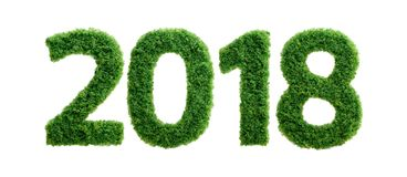 2018 green grass ecology year concept isolated. 2018 is a good year for growth in environmental business. Grass growing in the shape of year 2108 Royalty Free Stock Photos