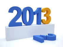 Goodbye 2012 hello 2013. 3D Render of the new year 2013 Stock Photography