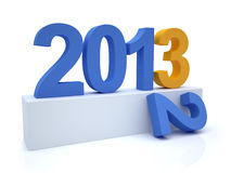 Goodbye 2012 hello 2013. 3D Render of the new year 2013 Stock Photos