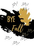 Goodbye Autumn golden lettering typography design with black leaves Stock Photo