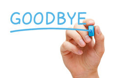 Goodbye Blue Marker. Hand writing Goodbye with blue marker on transparent wipe board isolated on white Stock Image