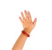 Goodbye girl hand. Idea of goodbye hand girl on white background Stock Images