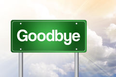 Goodbye Green Road Sign Royalty Free Stock Photography