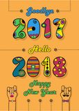 Goodbye 2017. Hello 2018. Happy New Year. Numbers by artistic font. Colorful numerals with bright decor. Cartoon male and female hands looking at each other Royalty Free Stock Photos