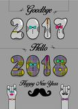 Goodbye 2017. Hello 2018. Happy New Year. Numbers by artistic font. Numerals with bowties. Cartoon male and female hands looking at each other. Vector Royalty Free Stock Images