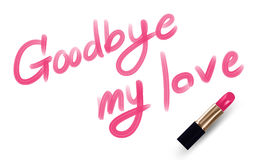 Goodbye my love text write by Lipstick pink color Royalty Free Stock Photo