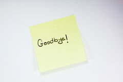 Goodbye note stock images