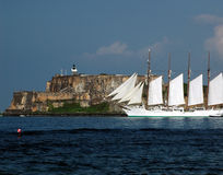 Goodbye San juan. A ship leaving old san juan port at full mast Stock Photo