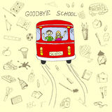 Goodbye school concept, school bus and children in it with hand. Drawn school items set. Vector illustration in eps8 format Royalty Free Stock Photo