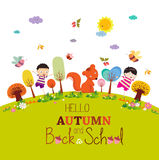 Goodbye summer. enjoy autumn happy smiling girls and boys ground round background Stock Photography