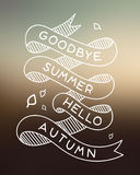 Goodbye Summer. A hand drawn banner vector image of the saying, Goodbye Summer Hello Autumn Royalty Free Stock Photography