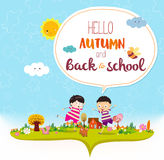 Goodbye summer. Hello autumn funny and happy smiling kids Stock Photo