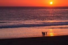 Goodbye Sun. A group on the beach raise their arms to the setting sun stock image