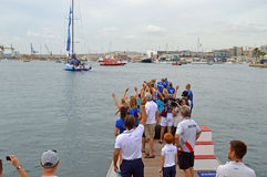 Team Vestas Wind - Waving Goodbye To Loved Ones In Sailing Yacht Race Royalty Free Stock Photography