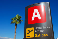 Goodbye to paradise. Departure sign at Sofia Reina Airport in Tenerife Stock Images