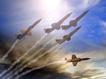 Goodbye to a pilot. Four F104 fighter planes. One separates, in honor to a dead pilot Stock Photos